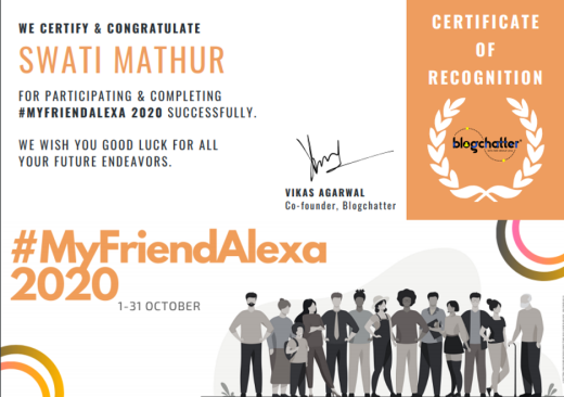 My Friend Alexa 2020 Certificate